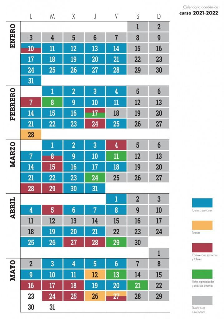 Calendario máster 2021-2022
